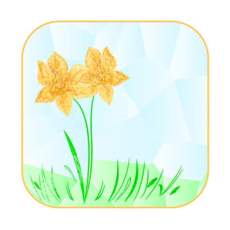 Button squared Easter daffodil polygons vector illustration
