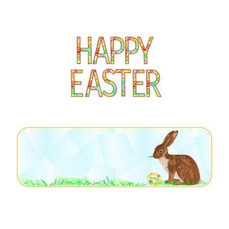 Banner  Easter Bunny and Easter egg polygons vector illustration