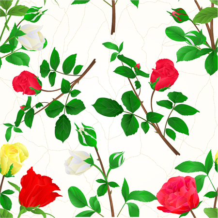 Seamless texture Bouquet of rosebuds red white and yellow roses cracks vintage festive background vector illustration Illustration