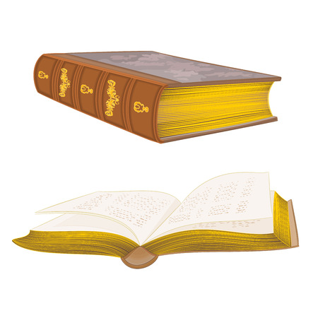 Old leather-bound books vintage hand draw vector illustration Illustration
