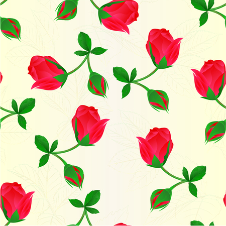 Seamless texture red Rosebud   stem with leaves and blossoms vintage vector illustration editable hand draw. Illustration
