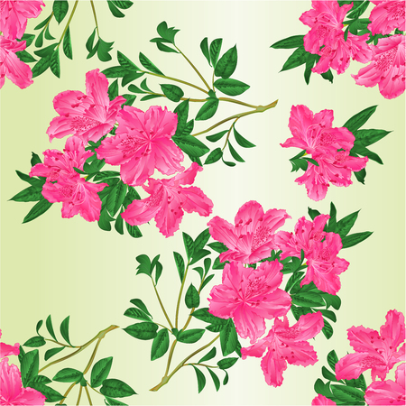 Seamless texture twig pink rhododendron with flowers and leaves