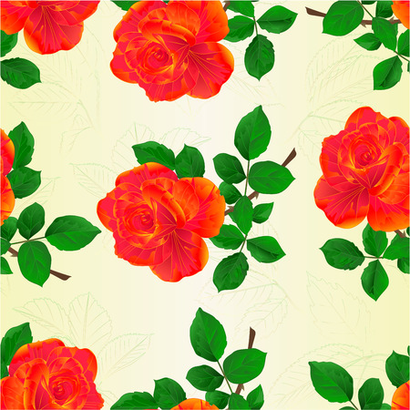 paper background: Seamless texture flower orange rose and leaves vintage  vector illustration editable hand draw Illustration