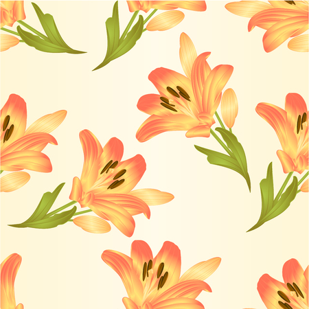 paper background: Seamless texture yellow lily  flower with leaves and buds vintage  vector illustration editable Hand drawn Illustration