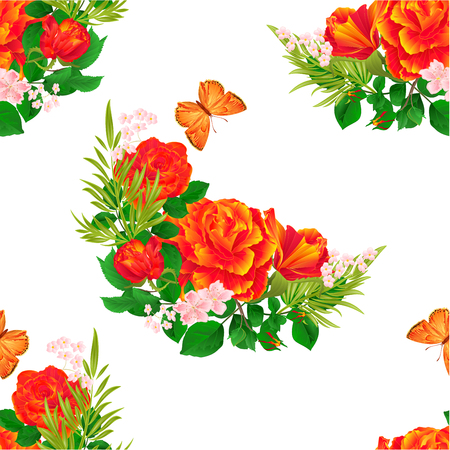 orange roses: Seamless texture  orange  Roses  and butterfly vintage  festive  background vector illustration editable hand draw
