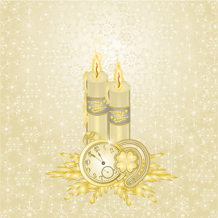 Candlelights candles and lucky symbols  gold background vintage vector illustration editable hand draw