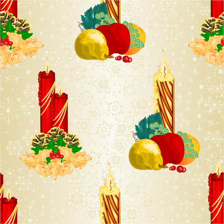 Seamless texture Christmas candlelights with pine cones and holy and various fruit vintage vector illustration editable hand draw Illustration
