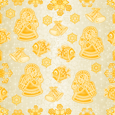 Seamless texture golden Christmas decorations fish angel snowflakes bells candle vintage vector editable hand draw
