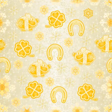Seamless texture golden Christmas decorations  symbols for luck Piggy cloverleaf horseshoe vintage vector editable hand draw Иллюстрация