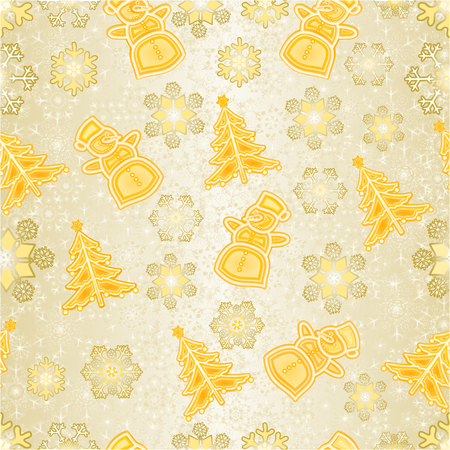 Seamless texture golden Christmas decorations snowman and snowflakes and christmas tree vintage vector editable hand draw Иллюстрация