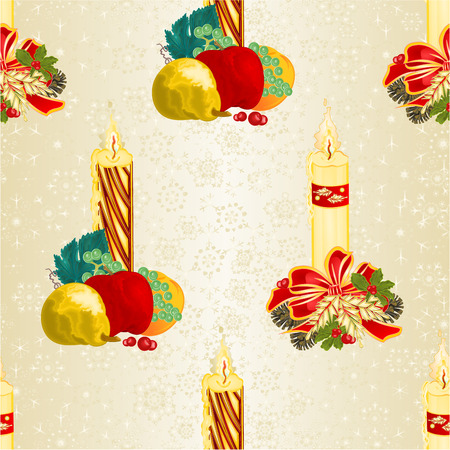 Seamless texture Christmas candlelights with bows pine cones and poinsettia  and various fruit vintage vector illustration editable hand draw Illustration