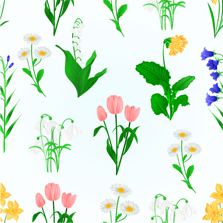 Seamless texture spring flowers lily of the valley ,snowdrops,bluebell campanula and primrose Daffodils ,Tulips, daisies vintage vector illustration editable hand draw