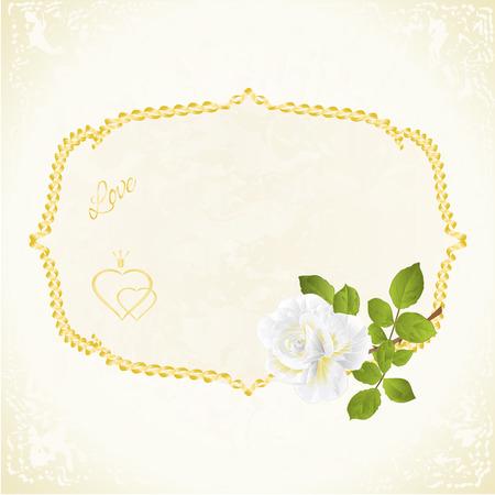 Etichetta con tiraggio editabile della mano dell'illustrazione d'annata del fondo festivo floreale della rosa di bianco Archivio Fotografico - 92917818