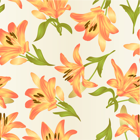Seamless texture yellow Lily Lilium candidum, flower with leaves and bud vintage vector illustration editable hand drawn Ilustrace