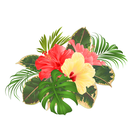 Bouquet with pink and yellow hibiscus philodendron palm and ficus