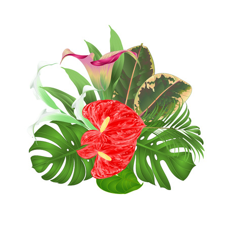 Bouquet with lilies Cala anthurium palm philodendron and ficus