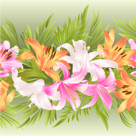 Floral border seamless background with blooming lily and leaves vintage vector Illustration for interior design, artwork, dishes, clothing, packaging, and greeting cards