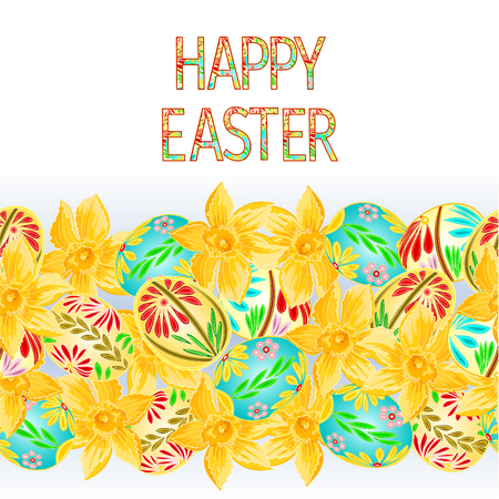 Happy easter border seamless background with eggs and daffodil vector illustration for use in interior design, artwork, dishes, clothing, packaging, and greeting cards Illustration