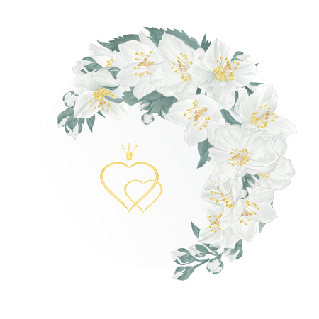 Floral crescent frame with jasmine and buds stock photography. Illustration