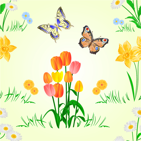 Seamless texture Happy Easter decoration with daffodil and tulips on green grass and butterfly, pussy willov and bow. Seasonal Holidays in April. Spring flowers vector illustration