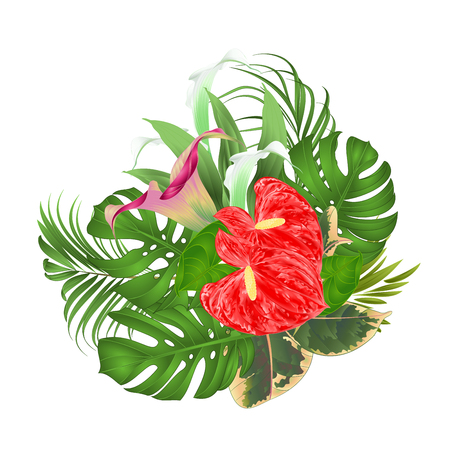 Floral arrangement bouquet with tropical flowers with beautiful lilies, Cala and anthurium. Ilustração
