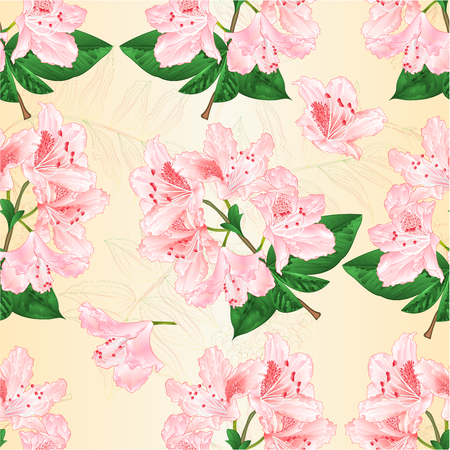 Seamless texture with light pink rhododendron Illustration