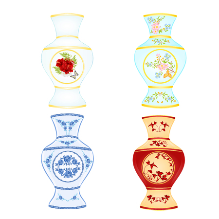 various Vases of porcelain set Illustration