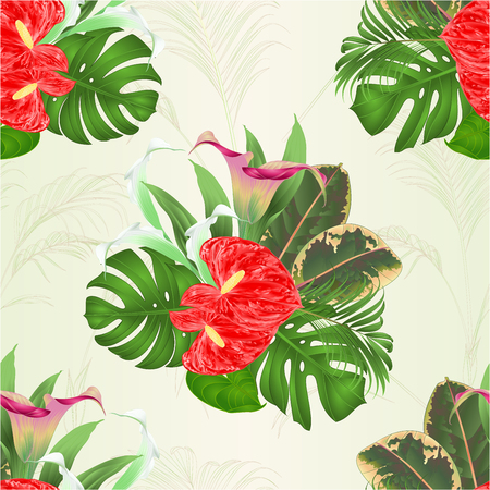 Seamless texture bouquet with tropical flowers floral arrangement, with beautiful lilies Cala and anthurium, palm, philodendron and ficus vintage vector illustration. Illustration