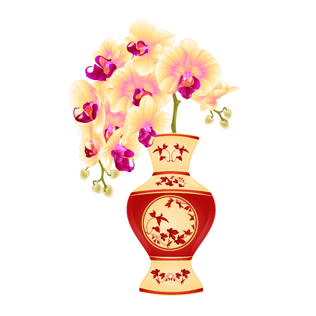 Orchid phalenopsis in a vase of porcelain with red leaves  vintage vector illustration editable hand draw