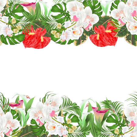 Floral  seamless background bouquet with tropical flowers  floral arrangement, with beautiful white orchids ,lili, palm,philodendron  vintage vector illustration  editable hand draw Illustration