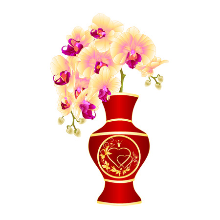 Orchid yellow phalenopsis in a vase  of red porcelain  gold ornament heart  with crown and leaves vintage vector illustration editable hand draw Иллюстрация