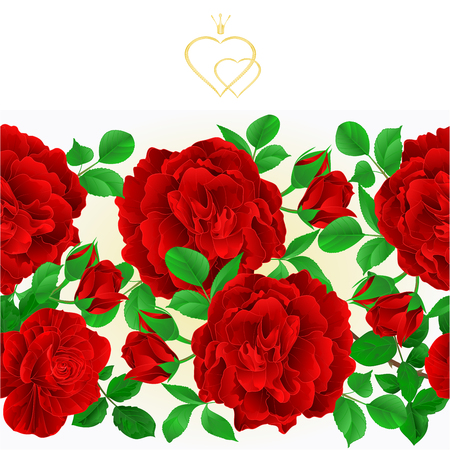 Floral border seamless background red Roses with buds and leaves vintage  festive background vector Illustration for use in interior design, artwork, dishes, clothing, packaging, greeting cards editable hand draw