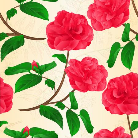 Seamless texture Camellia Japonica flowers with bud natural background vintage vector illustration editable hand draw Ilustração