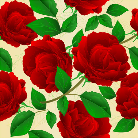 Seamless texture stems  roses purple and leaves vintage  vector botanical illustration editable hand draw Ilustrace