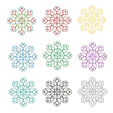 Rosette decorative ornamental floral  pattern various color outline and siluete vector illustration editable hand draw