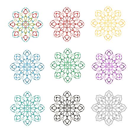 Rosette decorative ornamental floral  pattern various color outline and siluete vector illustration editable hand draw