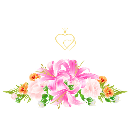 Greeting card bouquet with  flowers arrangement Illustration
