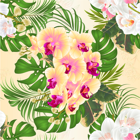 Seamless texture bouquet with tropical flowers  floral arrangement, with beautiful white and yellow orchid, palm,philodendron and ficus vintage vector illustration  editable hand draw