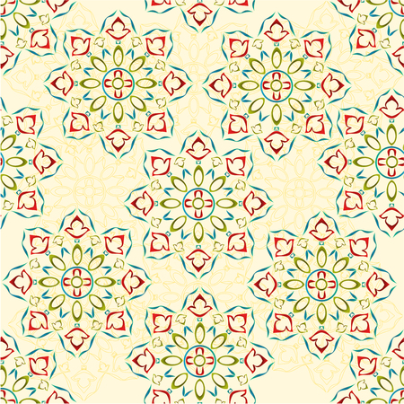 Seamless texture rosette decorative ornamental floral  pattern various color outline Illustration