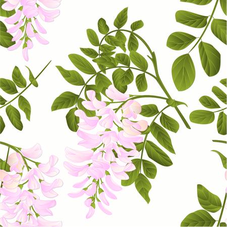 Nahtlose Textur Heuschrecke Zweig mit Blättern und Blumen Vintage Vector Illustration editabe Hand zeichnen Vektorgrafik