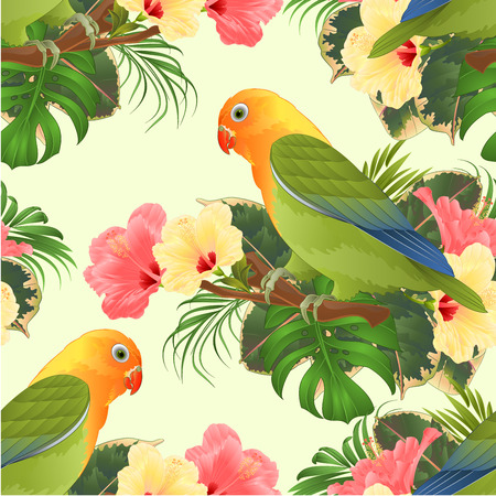 Seamless texture Parrot lovebird Agapornis tropical bird standing on a branch and hibiscus vintage vector illustration editable hand draw Vector Illustratie