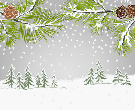 Winter landscape pine branches with snow and pine cones christmas theme and New Year natural background vintage vector illustration place for text editable hand draw Illustration