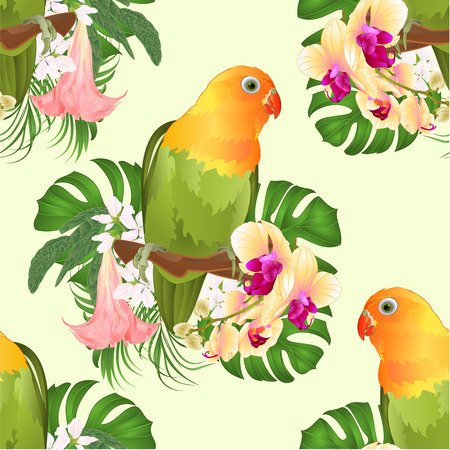 Seamless texture Parrot Agapornis lovebird tropical bird  standing on a branch and Brugmansia with yellow orchid on a white background vector illustration editable hand draw