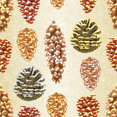 Seamless texture Christmas and New Year decorations Four pine cones larch cones natural  and golden pine cones and snow pine cones vintage vector illustration editable hand draw