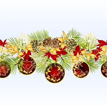 Christmas and New Year decorative seamless bordern branches with pine cones and red Christmas ornaments with golden and red poinsettia vintage vector illustration editable hand draw