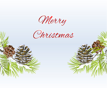 Christmas and New Year decorative seamless bordern snowy branches with pine cones with the inscription vintage vector illustration editable hand draw Illustration