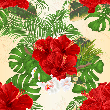 Seamless texture bouquet with tropical flowers  floral arrangement, with beautiful red hibiscus and orchid palm,philodendron and ficus vintage vector illustration  editable Illustration