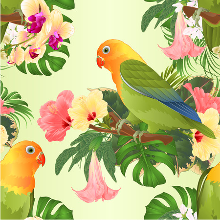 Seamless texture Parrots lovebird Agapornis tropical birds standing on a branch and hibiscus and Brugmansia with yellow orchid vintage vector illustration editable hand draw Vector Illustratie