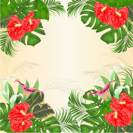 Floral frame natural background with blooming lilies Cala and anthurium, palm,philodendron and ficus vector Illustration for use in interior design greeting card