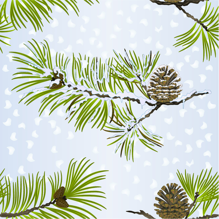 Seamless texture Christmas and New Year decoration  pine cone and snow pine cone fir tree branches vintage vector illustration editable hand draw Ilustração